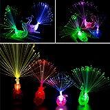 Herefun 20 Piezas de Fibra óptica Luz de Dedo LED Luces de Dedo Coloridas Pavo Real Ballena Luz de Dedo Anillos de luz niños