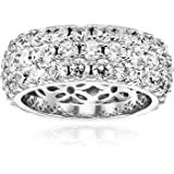 Juego de anillos bañados en platino o oro de 3 filas de corte redondo con circonita Swarovski