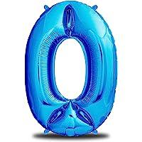 envami Ballon Anniversaire 0 Bleu I 101 CM Ballon Chiffre I Deco Kit Anniviersaire Garçon I Happy Birthday Decoration I…