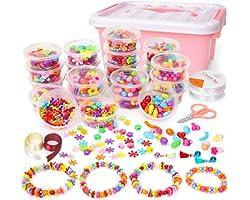 Sanlebi Niños Bricolaje Conjunto de Cuentas, 2000 PCS Abalorios para Hacer Pulseras Collares Anillos Kit Manualidades Juego d
