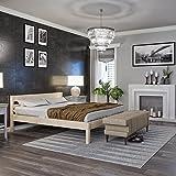 Lit 160x200 cm Kaja, Tête de lit Haute + Lattes – Cadre de Lit Double en Bois de Bouleau stratifié - Supporte jusqu'à 700 kg