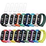 MIJOBS 23 Pièces = 18 Pièces Bracelets pour Xiaomi Mi Band 6 / Mi Band 5 / Amazfit Band 5 + 5 TPU Protector, Fitness Sports B