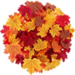 Maple Leaves Artificial Fall Leaves Bulk 400Pcs Assorted Mixed Faux Fall Color Maple Leaves Decoration Fake Maple Left...