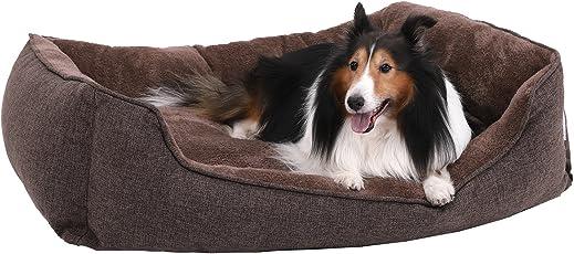 SONGMICS M/L/XXL Weiches Luxus Hundebett mit Abnehmbarem Kissen, M/L/XXL Luxus waschbares Hundebett, Kuscheliges Hundekissen, Braun