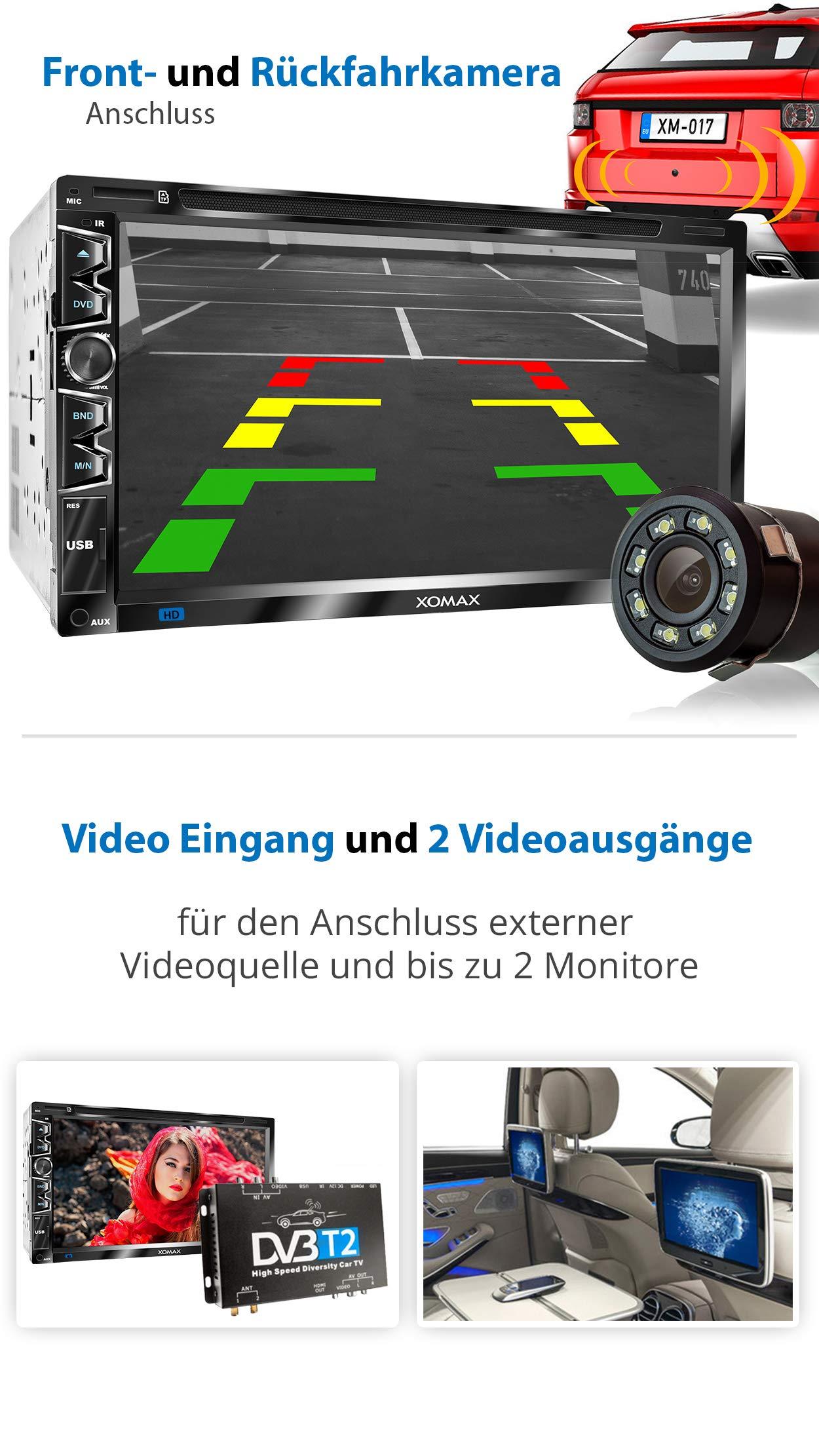 XOMAX-XM-2D6907-Autoradio-mit-kapazitivem-69-175-cm-Touchscreen-Bildschirm-I-DVD-CD-USB-SD-AUX-I-Bluetooth-Freisprecheinrichtung-I-2-DIN