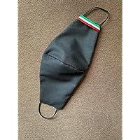 Mascherina artigianale lavabile nero tricolore italia 100% cotone con tasca per filtro maschera protezione facciale
