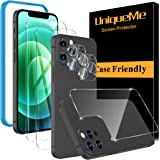 UniqueMe Kompatibel med iPhone 12 Pro Max 6,7 tum [2-pack] härdat glas och [1 PACK] bakre skärmskydd och [2-pack] kameralinss