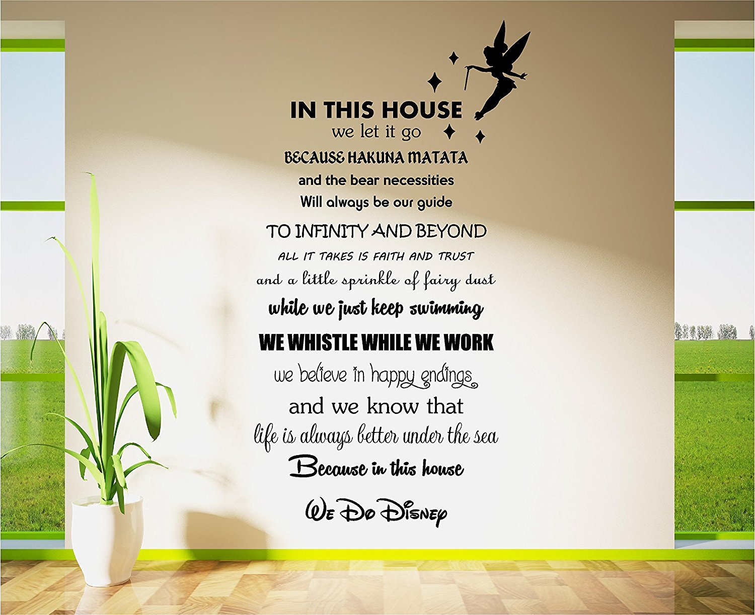 Disney wall art stickers home design disney tinkerbell movie poem quote wall art sticker decal transfer vinyl 57cm x 106cm amipublicfo Choice Image