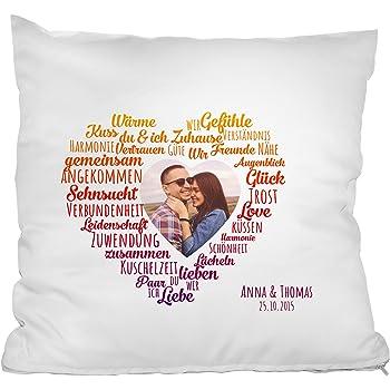 personello fotokissen mit herz motiv kissen mit foto namen und datum personalisierbar. Black Bedroom Furniture Sets. Home Design Ideas