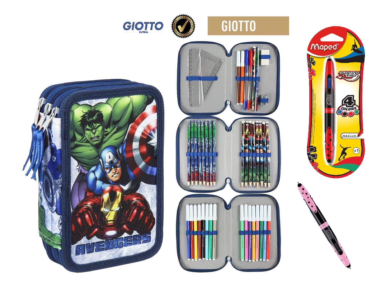 Cerdà Plumier Estuche Artesanía Premium de Cremallera Triple 3 Pisos Avengers – 43 Piezas Contenido Giotto + Regalo
