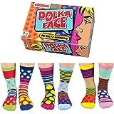 United Oddsocks - Confezione Da 6 Calzini Spaiati Donna Taglia 37-42 (Modello Polka Face)