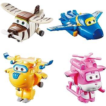Auldey- Super Wings Pack de 4 Figurines transformables