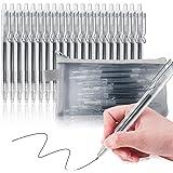 20 Penne Nere Gel, Penna a sfera retrattile, Penna Quick Dry, Punta Media (0.5 mm), Fornitura per Cancelleria Scuola e Uffici