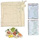 ErdenGast® - Bolsas para frutas y verduras – Juego de 5 redes de la compra de algodón orgánico GOTS, incluye calendario de te