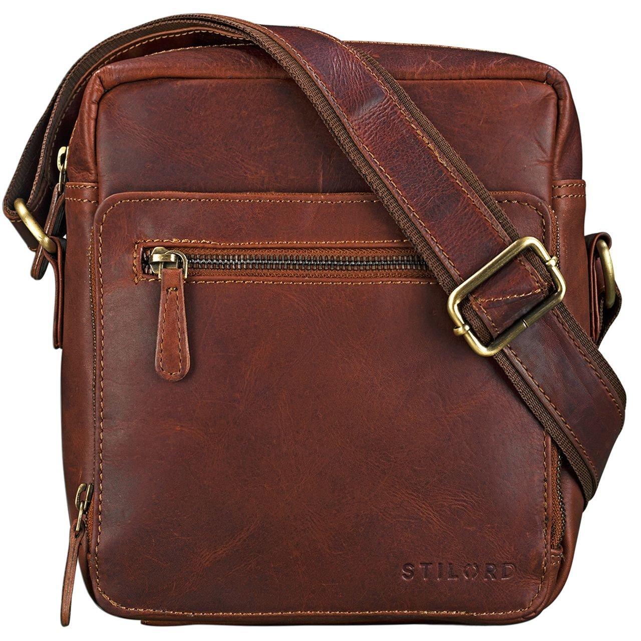 ce5292aed7 STILORD 'Nathan' Borsello da Uomo a tracolla in pelle Piccola borsa  messenger in Cuoio a Spalla per Viaggi Escursioni