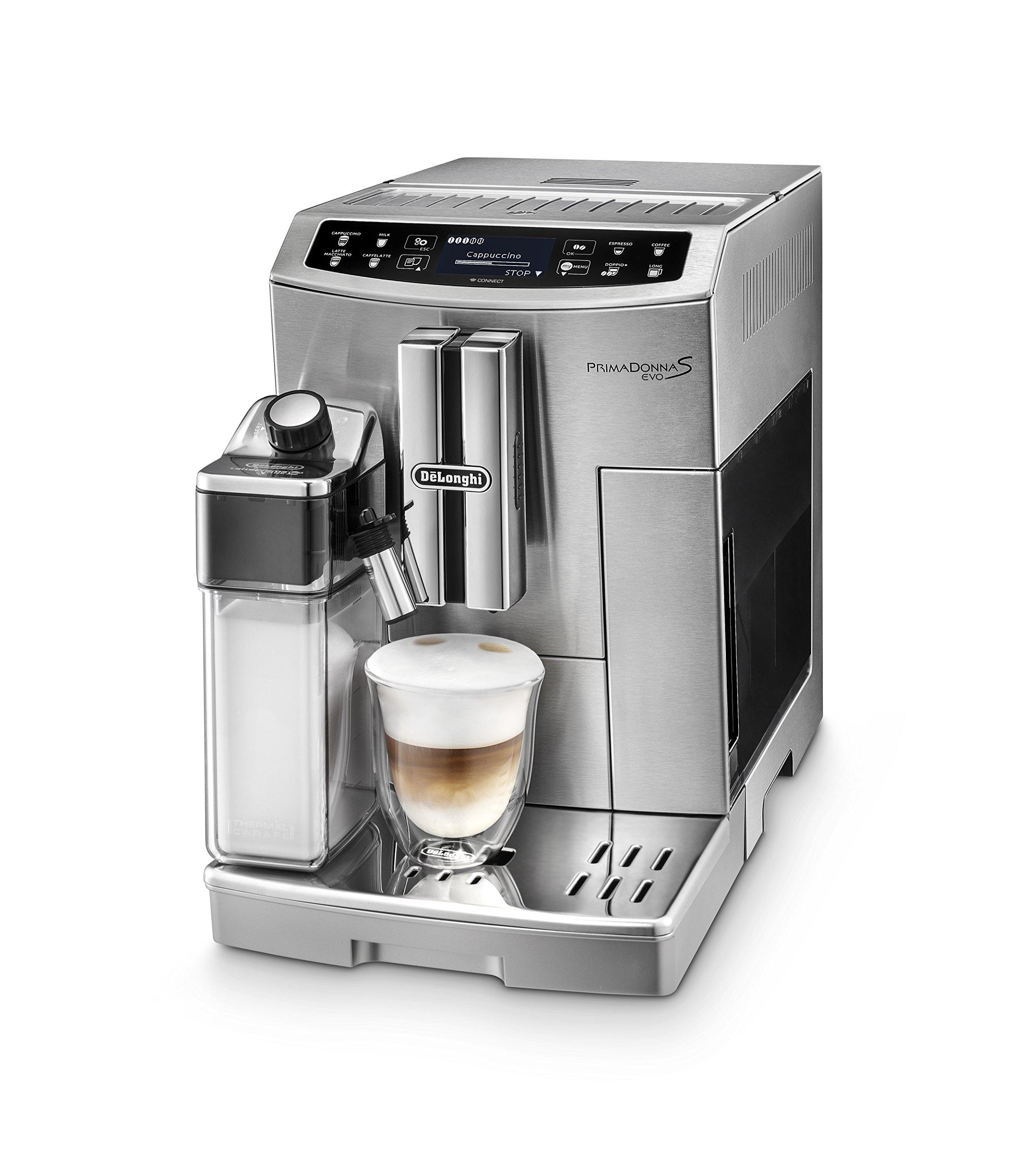 DeLonghi-PrimaDonna-S-Evo-ECAM-51055M-Kaffeevollautomat-1450-W-Digitaldisplay-integriertes-Milchsystem-APP-Steuerung-Edelstahlgehuse-Lieblingsgetrnke-auf-Knopdfruck-silber