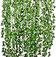 YQing Pianta Artificiale Edera Rampicante Ghirlanda 12 Pezzi Pianta Artificiale Fiori Esterne per Festa di Matrimonio e la Decorazione della Parete di Giardino