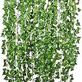 YQing Plantas Hiedra Artificial Decoración Interior y Exterior 84ft-12 Guirnalda Hiedra Artificial De Hogar Boda Jardín Valla