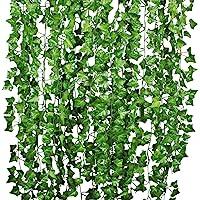 Attvn Feuilles de Lierre Guirlande Plantes artificielles - 12 Pack 84 Ft Vert Feuillage Artificiel Garland Ivy
