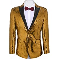 COOFANDY Men's Shiny Sequins Suit Jacket Blazer One Button Tuxedo for Party, Wedding, Banquet, Prom