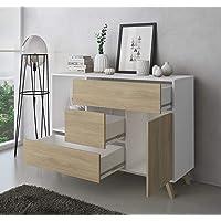 Skraut Home - Meuble de Rangement, Buffet de Salle à Manger, modèle Wind 1 Porte, 3 tiroirs, Structure de Couleur Blanc…