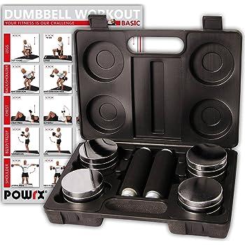 POWRX – Juego de Pesas de 5 kg Incluye maletín | Set de 2 Mancuernas cromadas con Mango de Espuma | Mancuernas para Fitness Entrenamiento de la Fuerza, ...