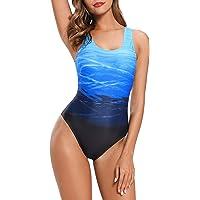 Asskdan Amincissant Sport Bikini 1 Piece Imprimé Tie-Dye Dos Nu Croisé Maillot de Bain Push-up Rembourré