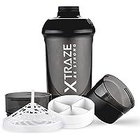 XTRAZE® Shaker Protéiné 600 ml avec Compartiment en Poudre 2 x = 150 ml + 200 ml – Sans BPA – Gobelet Anti-Fuite avec…