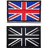 2 Pcs British Union Jack Embroidered Flag Emblem UK Great Britain Applique Patch Tactical England Flag Badge Fastener Hook an