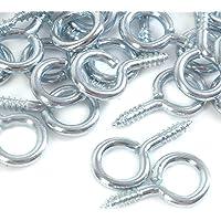 100x Heavy Duty Small Steel Screw in Eye Hooks - 20mm Frame/Loop/Ring Wall Hangers