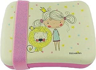 Bento Lunchbox Set aus Bambus für Kinder mit elastischem Stoffband – Perfekt für Sandwich und Snacks – Für Schule – Mit gratis Tasche – Spülmaschinen fest und BPA-frei – Öko und umweltfreundlich (Girl and Lion)