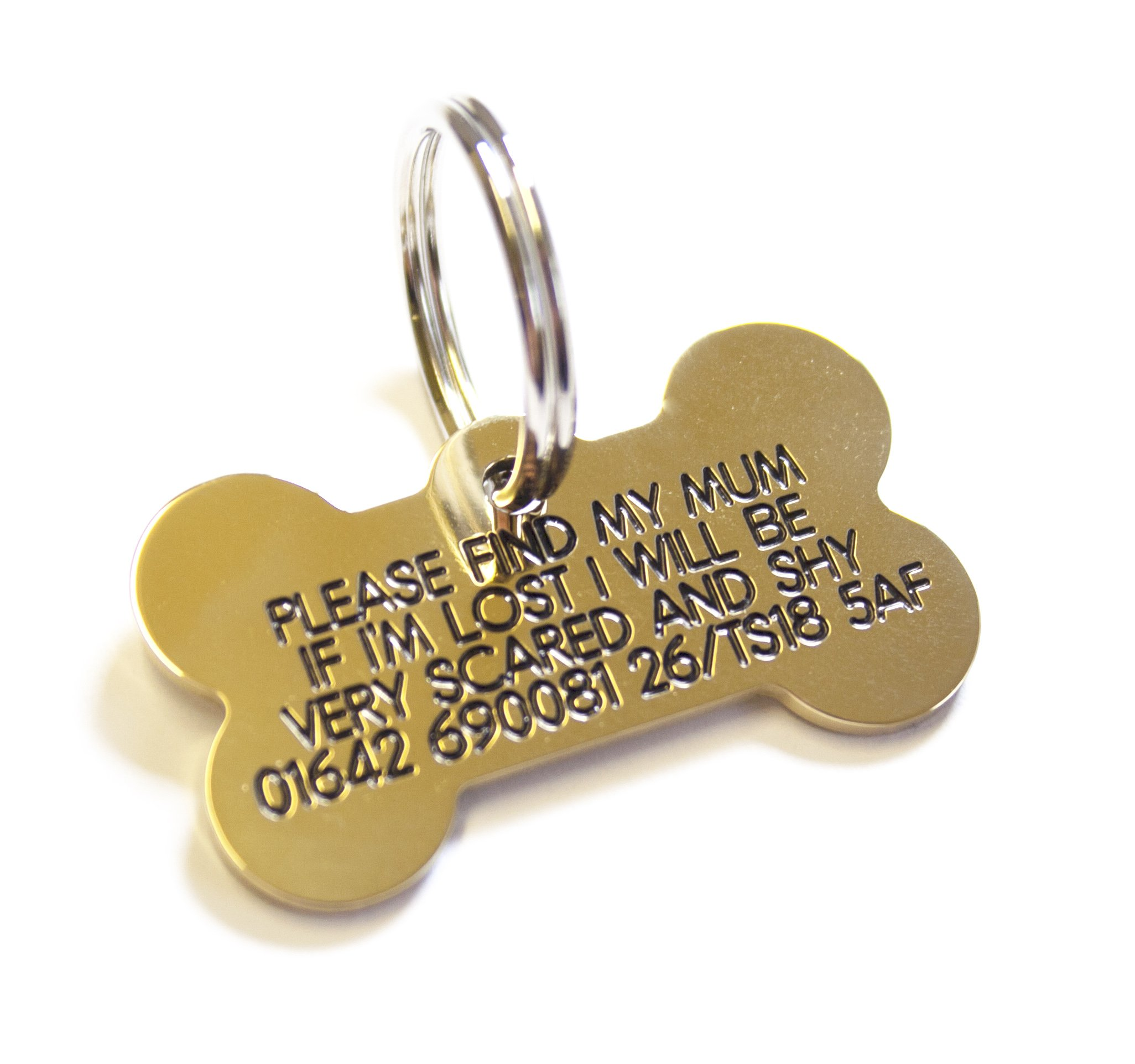 Deeply engraved solid brass bone shaped dog tag, small 39x22mm