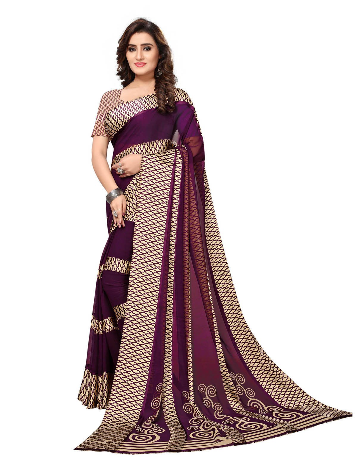 0f64fe785 Kanchnar Women s Purple Georgette Printed Satin Patta Saree (708S14 ...