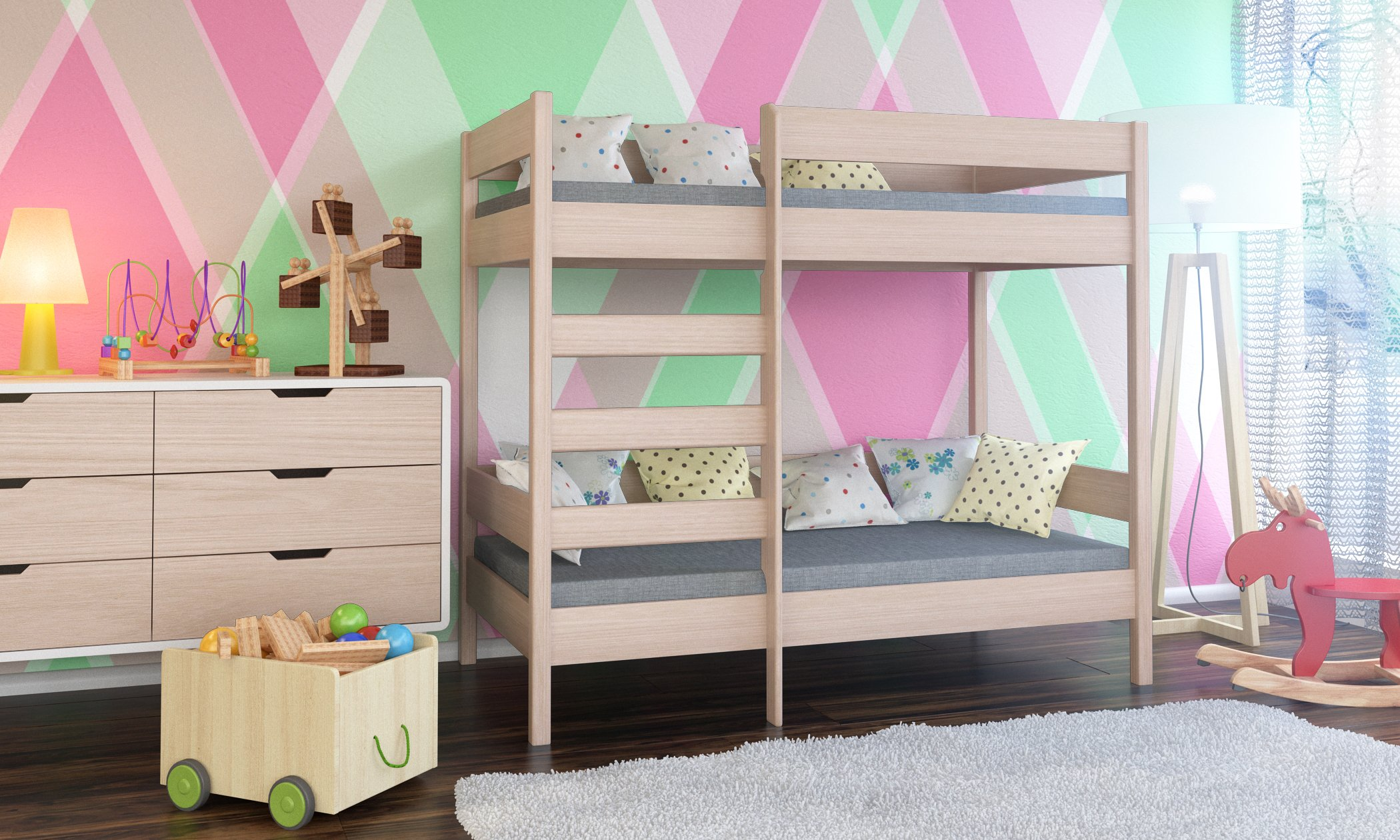 WNM Group Bunk bed Dino high two sleeper front entrance with 2 mattress (160x80x160, Bleached Oak) WNM Group Leg height 160 cm & Bedframe up to 150 kg Legs and ladder made of solid wood 2 Foam mattress included 2