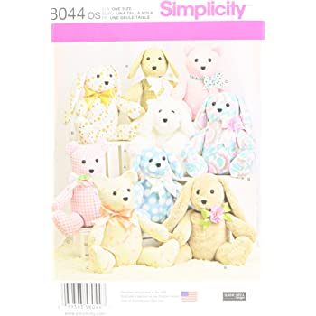 Simplicity Sewing 8044os Two Pattern Piece Stuffed Animals One Size
