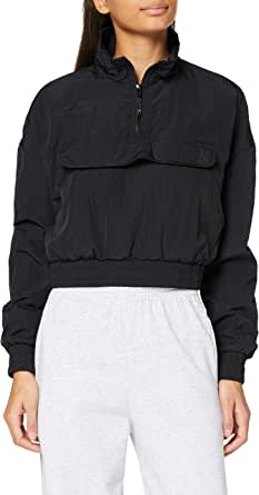 Urban Classics Ladies Cropped Crinkle Nylon Pull Over Jacket Giacca a Vento Donna