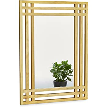 Relaxdays Pine Wood Mirror, Size: 70 x 50 x 2 cm Wall Mirror Hanging on