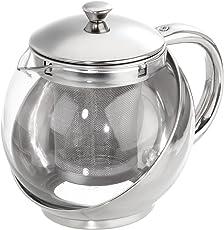 axentia Teekanne mit Siebeinsatz, Teebereiter aus Glas,  Glaskanne mit Deckel, Teesieb aus Edelstahl, Teekrug mit hitzeresistenten Borosilikatglas, Teekrug mit Deckel und Griff, Teekocher mit einem Füllvolumen ca. 0,65