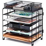 KEEGH Paper Organiser Tray,5 Tier Mesh Desk File Organiser with Extra Drawer | Screws Free Design (5 Tray with Drawer)