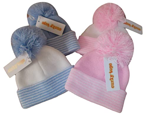 bccca795cc3 BNWT Baby Girls and Boys knitted winter bobble hat with pom pom (blue) 0