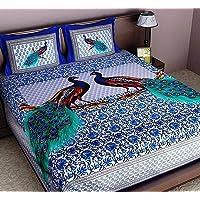 Ealth Kart Cotton 144 TC Bedsheet (Queen_Blue)