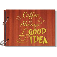 Look Decor Coffee is Always Good Artworks Wooden Photo Album Scrap Book with 10 Butterfly 3D Acrylic Sticker 40 Pages…