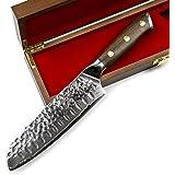 Stallion Damasco coltello Damasco coltello Santoku in legno di ferro 17,5 cm - Damasco coltello in acciaio con manico in legn