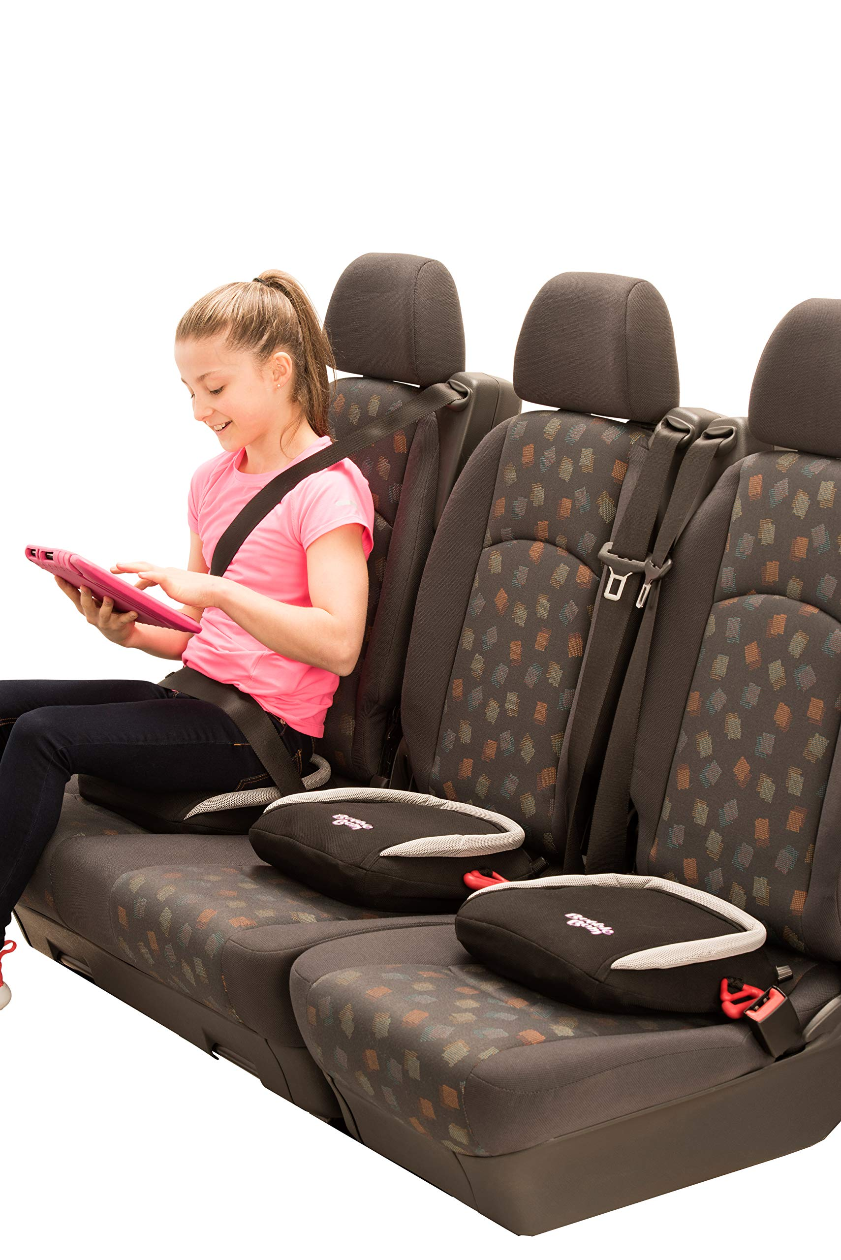 BubbleBum Inflatable Travel Car Booster Seat, Group 2/3, Black  The Award Winning BubbleBum Car Booster Seat The Inflatable, portable & safe booster seat for children aged 4 - 11, 15 - 36kg (with the provision of a vehicle headrest) Approved to the EU Safety Standard R44.04 for both Groups 2 and 3. Dimension - When inflated the seat measures 11 x11 x 4.5 Inches.  When deflated the seat measures 11.8 x 5.9 x 3.9 Inches.  Tip - ideal as you can now fit three across the back 7
