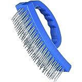 Silverline 250554 draadborstel met D-greep 4-rijen, blauw