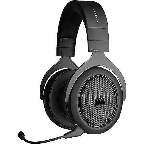 Corsair HS70 Bluetooth Cuffie da Gioco Multipiattaforma, Audio del Gioco e Discussione in simultanea, Compatibile con Molti dispositivi, Auricolari Regolabili Imbottiti con moschettone,Nero