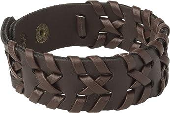 Shining Jewel Hand-Woven Brown Leather Cuff & Kadaa Bracelet For Men (Sj_3077)