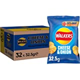 Walkers Cheese & Onion Vegetarian Crisps Box, Made with 100 Percent Great British Potatoes, 32.5 g (Case of 32 Bags)