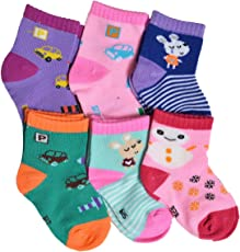Crux&hunter 6 pair cotton assorted socks of baby boy's and girl's (Age group 0-9 months)