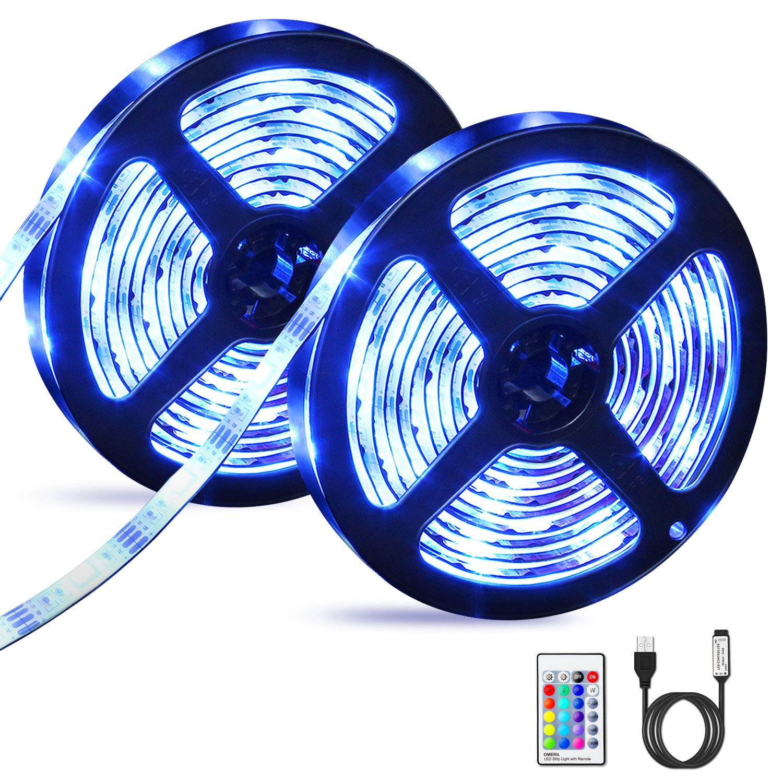 Tiras LED 6M, OMERIL Impermeable Tira LED USB con Control Remoto, 5050 RGB LED Strip con 4 Modos y 16 Colores, Luces LED para Habitacion, Hogar, Cocina, Bar, Fiesta, Boda, Restaurante y Coche (2*3M)